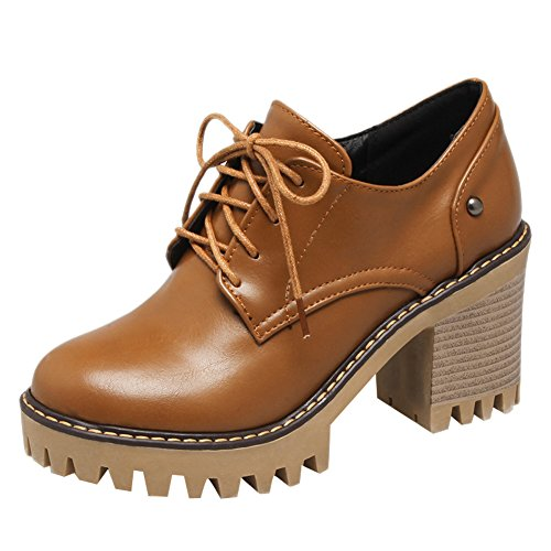 Spectacle Briller Femmes Casual Lacets Chunky Talon Oxfords Chaussures Jaune