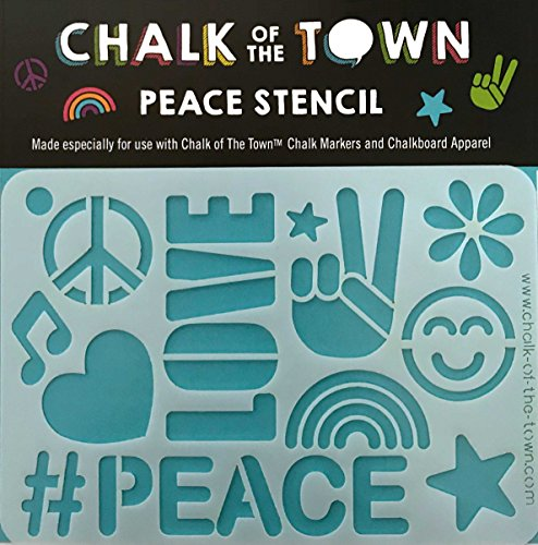 Chalk of the Town Peace Plastic Stencil for Kids]()