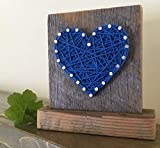 Sweet & small freestanding wooden blue string art heart block sign. Perfect for home accents, Wedding favors, Anniversary gifts, nursery decoration and just because gifts by Nail it Art.
