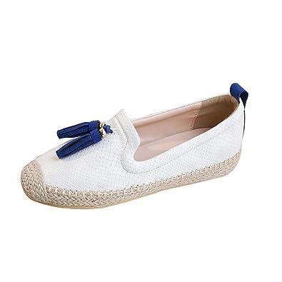 OHQ Paille Femme Ronde Glands Chaussures Baller Chaussures Blanc Vert Clair  Ballerines DéContractéEs pour Femmes Confortables 740dd818aa24