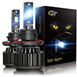 Cougar Motor H13 LED Headlight Bulbs, 9008 High/Low All-in-One Conversion Kit, 6000K Cool White - Adjustable Beam Pattern