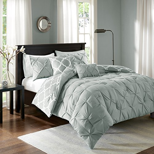 Tufted Comforter Set (Madison Park Essentials Kasey Full/Queen Size Bed Comforter Set - Grey, Reversible Tufted, Ogee Fretwork – 5 Pieces Bedding Sets – Ultra Soft Microfiber Bedroom Comforters)