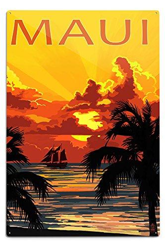 Lantern Press Maui, Hawaii - Sunset and Ship (12x18 Aluminum Wall Sign, Wall Decor Ready to Hang)