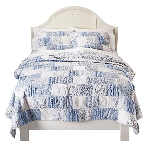- Simply Shabby Chic Blue Bohemian Patchwork Cotton Quilt, Twin