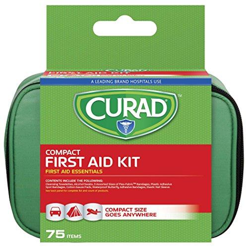 Curad Compact First Aid Kit, Green 75 Items, 1 Each