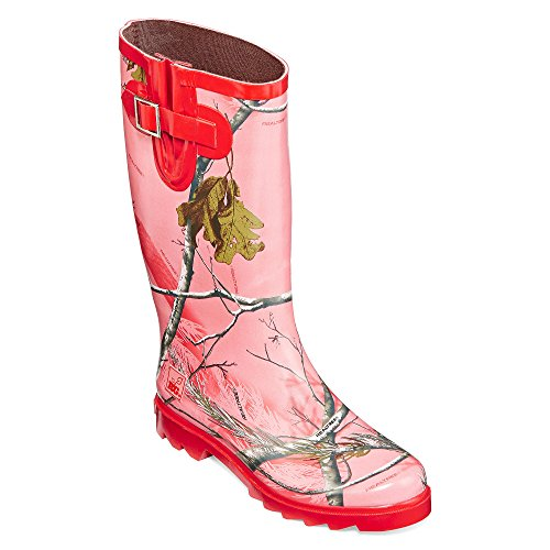 Women's RealTree Girl by Duckhead, Ms Jo Jo Rain Boot HOT PINK 9 (Hot Pink Love Boots)