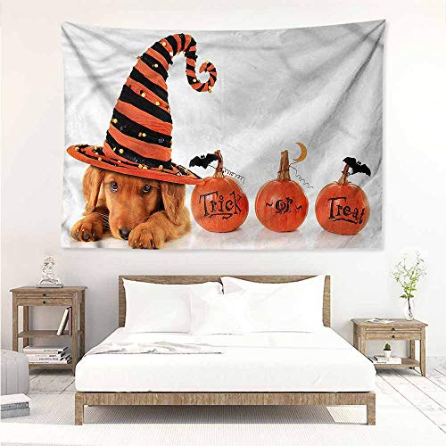 Sunnyhome Big Tapestry,Halloween Puppy Wearing a Witch Hat,Bedspread Yoga Mat Blanket,W90x59L ()