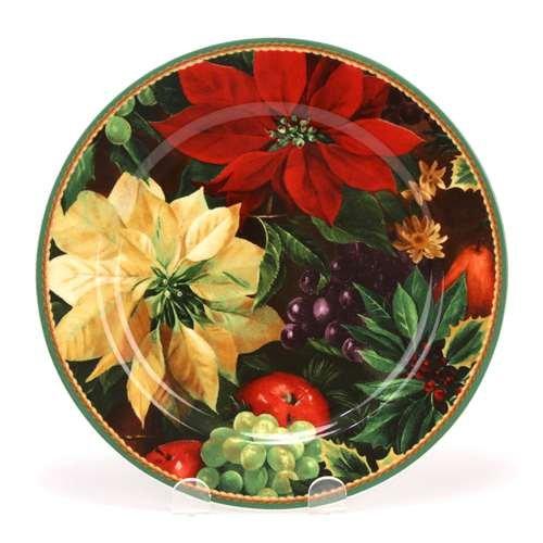 Poinsettia Hallmark (Hallmark Poinsettia Holiday Abundance by Sakura Ceramic Salad Plate)