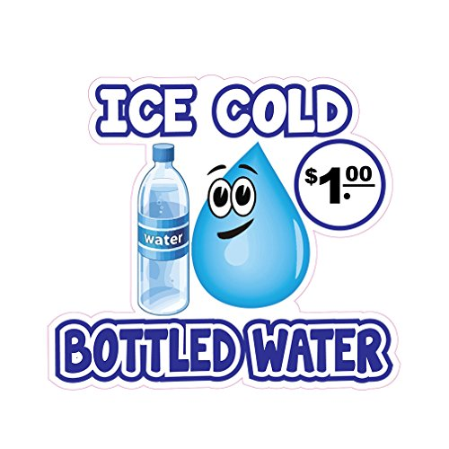Ice Cold Bottled Water Concession Restaurant Food Truck Die-Cut Vinyl Sticker 10 inches -