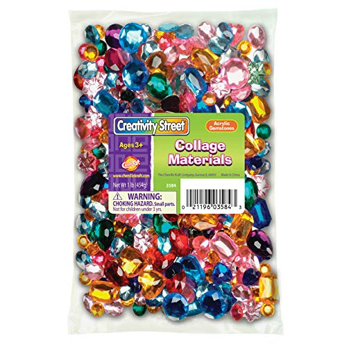 - Creativity Street Faceted Assorted Shape Acrylic Gemstone, Assorted Size, Assorted Color, 1 lb
