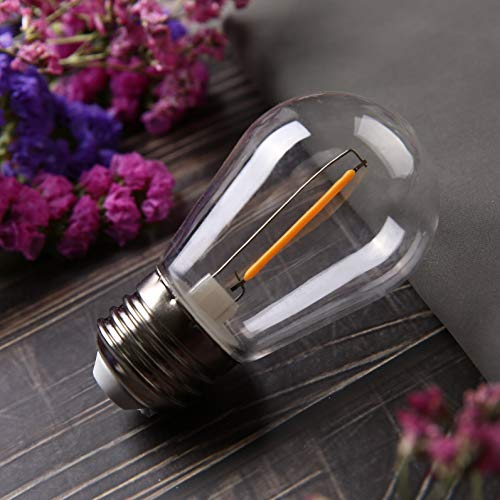 BORT LED S14 Replacement Bulbs, Shatterproof LED Filament Bulb, 1W(10W Equivalent), Fits for Outdoor String Lights/Patio Lights, Warm 2200K, Dimmable, E26 Standard Screw Base, Plastic (15 Pack)