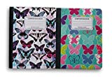 Butterfly Patterned Wide Ruled 100 Sheets Composition Notebooks - (Pack of 2)