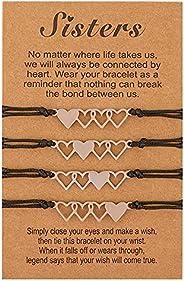 AMOR SPES 2/3/4 Pcs Handmade Sister Wish Bracelets Heart Charm Matching Bracelets With Card Back To School BFF