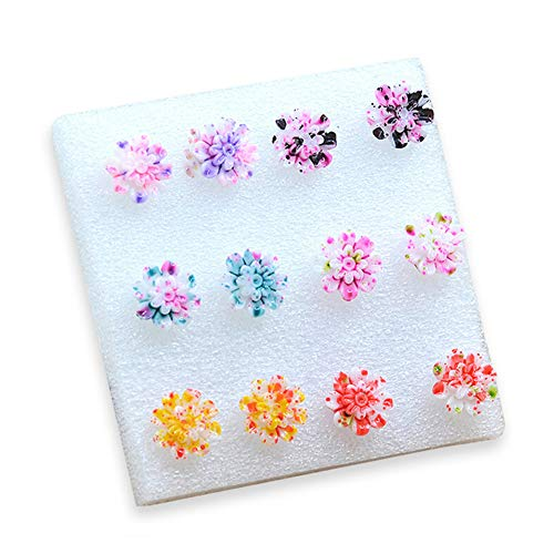 - Max Corner 6 Pairs Resin Colorful Daisy Flower Earring Stud Fashion Earring for Women Daily