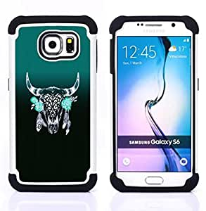 GIFT CHOICE / Defensor Cubierta de protección completa Flexible TPU Silicona + Duro PC Estuche protector Cáscara Funda Caso / Combo Case for Samsung Galaxy S6 SM-G920 // Horns Green Indian Feathers Native //