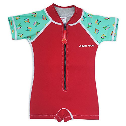 Cheekaaboo Wobbie Kids One Piece UV Protection Thermal Swimsuit for Boys and Girls, 4-6 Years, Red