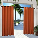 Exclusive Home Curtains Indoor/Outdoor Solid Cabana Grommet Top Window Curtain Panel Pair, Mecca Orange, 54x96