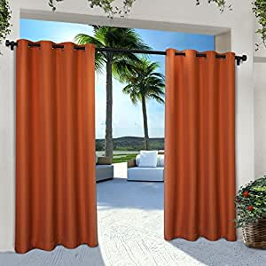 Exclusive Home Indoor/Outdoor Solid Cabana Window Curtain Panel Pair with Grommet Top 54x96 Mecca Orange 2 Piece