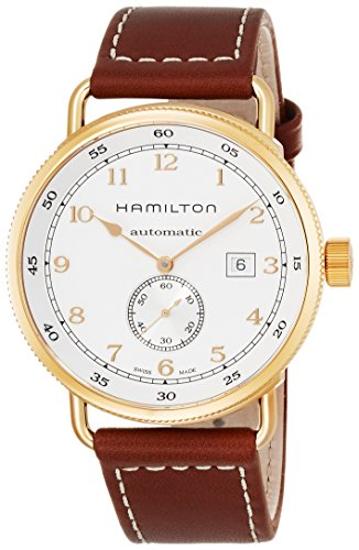 Hamilton Men's H77745553 Khaki Navy Analog Display Swiss Automatic Brown Watch (Pocket Watch Gold Hamilton)