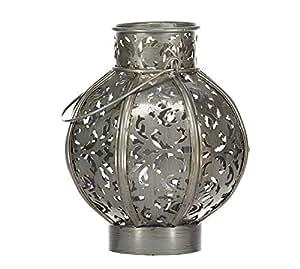 La Hacienda Small Moroccan Globe Lantern Burnished Silver