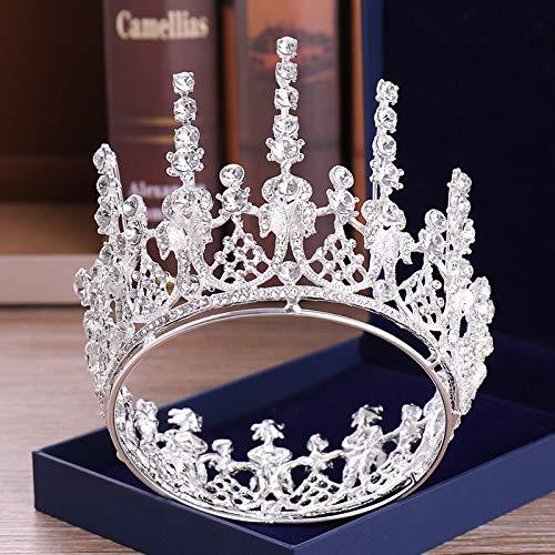 - Santfe Luxury Wedding Bridal Crystal Tiara Crowns Princess Queen Pageant Prom Rhinestone Tiara Headband Wedding Hair Accessory (Silver Plated)
