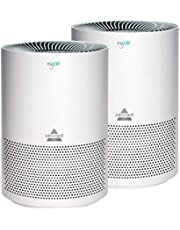 Bissell MYair, 2 Pack, Purifier with High Efficiency and Carbon Filter for Small Room and Home, Quiet Bedroom Air Cleaner for Allergies, Pets, Dust, Dander, Pollen, Smoke, Odors, Timer, 27809, 2 Count
