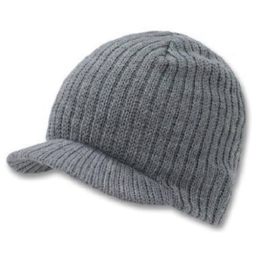 Decky Knit Visor Beanie Campus Jeep Cap (One Size, Grey)