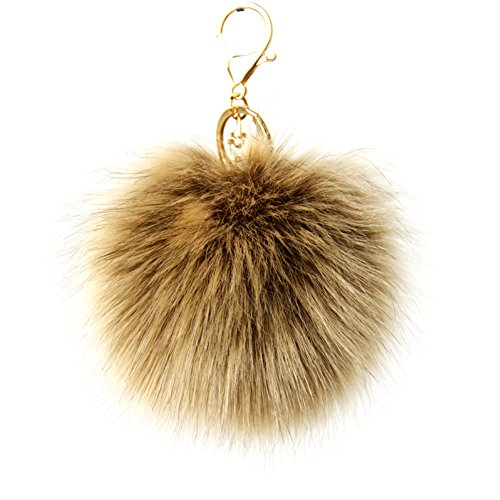 Dikoaina Faux Fox Fur Pom Pom Keychain Bag Purse Charm Gold Ring Fluffy Fur Ball (Purse Keychain)