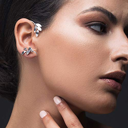 Silver ear cuff no piercing gift, ear climber earring cuff statement earring non pierced earcuff non pierced earring elf ear cuff earring by -