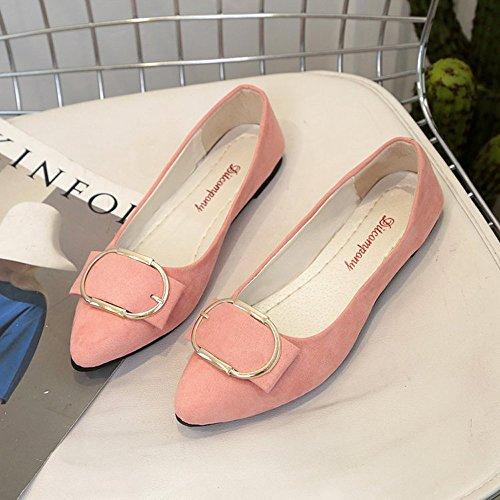 En Pointu Ddupnmone Peu Femme Mode À Bout Pour Plat Été Rose De Ceinture Bouche Femmes Avec La Sandales Boucle Chaussures Daim Profonde BqpgB7r8n