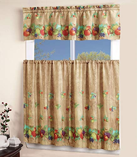 Apple Kitchen Curtains -   Sapphire Home 3 Piece Kitchen Curtain Linen Set with 2 Tiers 27