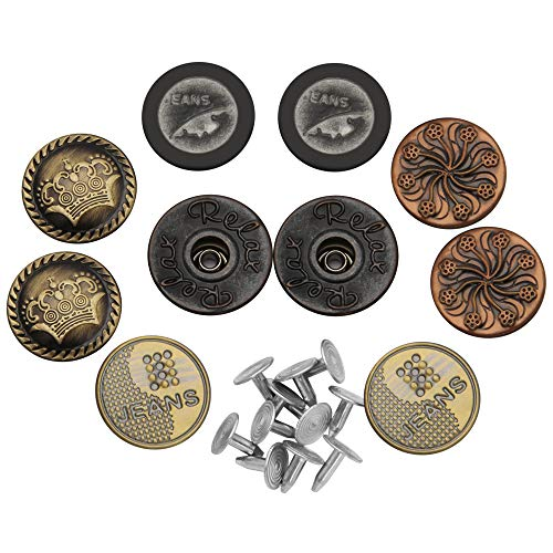 Metal Replacement Buttons for Jeans, Luxiv Jean No-Sew Tack Buttons for Leather 10 Sets 20mm Denim Women and Men Jeans Metal Replacement Buttons Kit with Rivet Buttons for Jeans, Bags, Clothes (20mm)