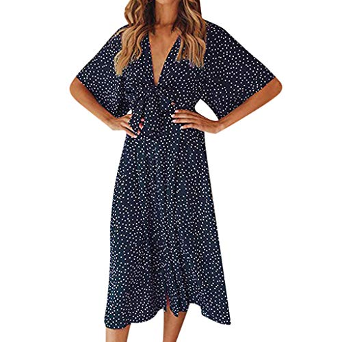 Cenglings Women's Vintage V Neck Polka Dot Half Sleeve Dress Boho Loose Midi Dress Beach Bowknot High Waist Dress Blue ()