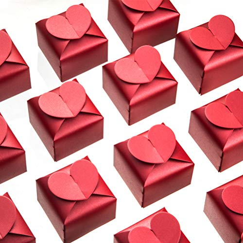 Candy Heart Box - AWELL Burgundy Favor Box Bulk 2.5x2x2.5 inches with Heart Bow Party Favor Box,Burgundy,Pack of 50