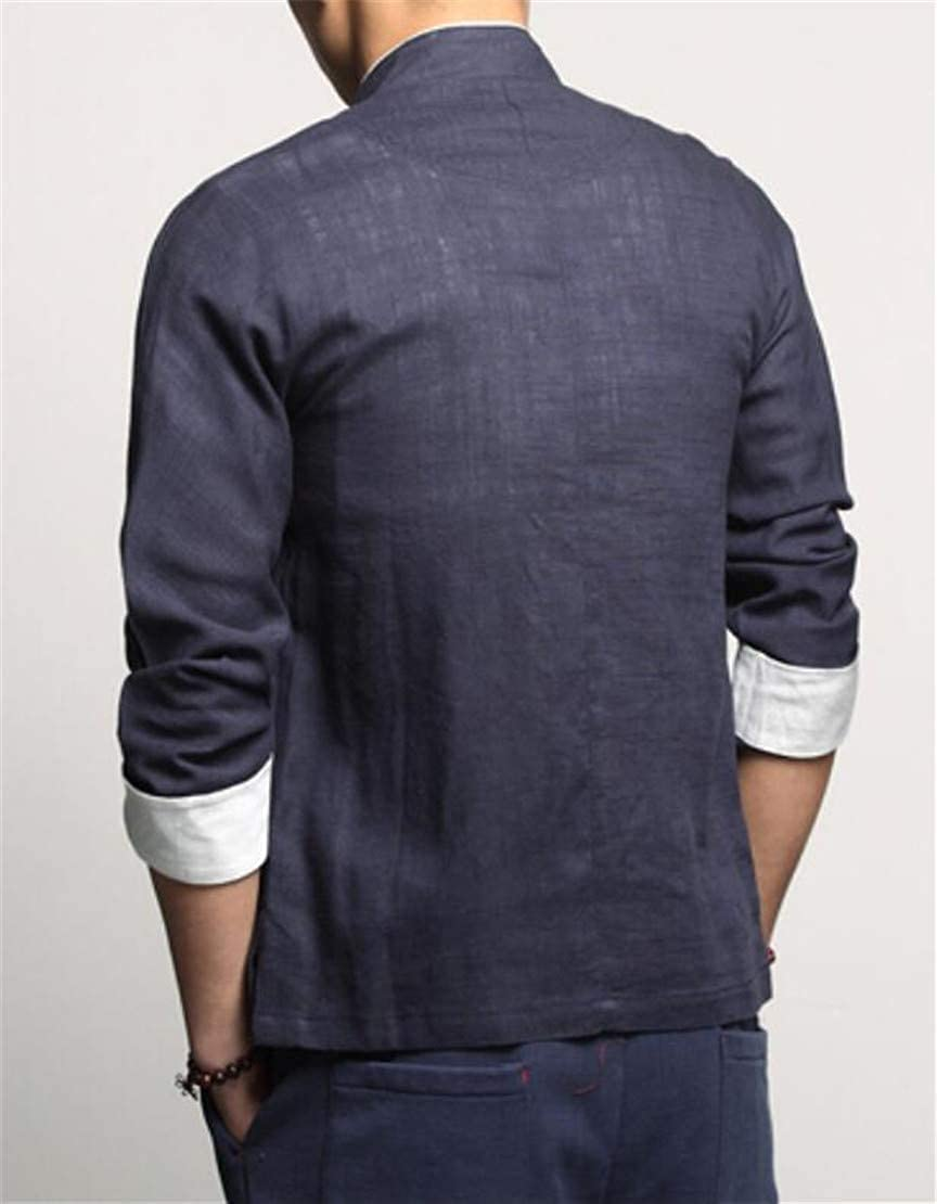 Domple Mens Buttons Stand Collar Fashion Linen Chinese Style Shirts