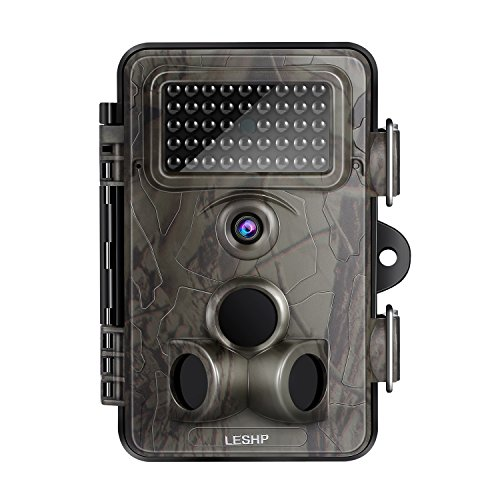 LESHP Game and Trail Camera 12MP 1080P HD With Time Lapse 65ft 120° Wide Angle Infrared Night Vision 42pcs IR LEDs Waterproof IP66 2.4' LCD Screen Scouting Camera Deer Camera Digital Surveillance