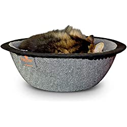 Hepper - Nest Cat Bed - Modern Designer Pet Furniture for Cats and Small Dogs - Removable + Washable Fleece Liner - Herringbone