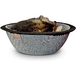 Hepper - Nest Cat Bed - Modern Cat Furniture - Cat Bowl with Removable & Washable Fleece Liner -r - Herringbone