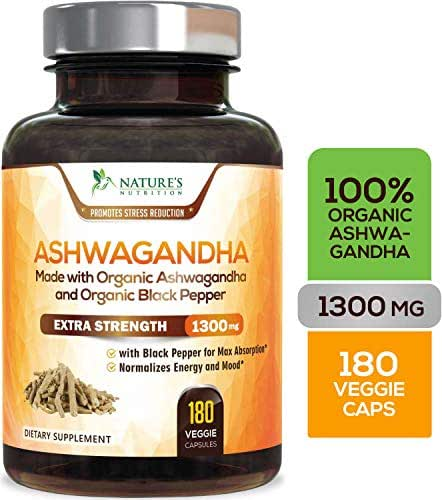 Organic Ashwagandha Capsules Highest Potency Root Powder Extract 1310mg - Ashwagandha Supplement w/Black Pepper for Stress Relief, Made in USA, Vegan Anti-Anxiety & Adrenal Support - 180 Capsules