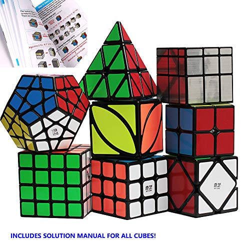 Nitrocubes Speed Cube Set Magic Cube Bundle with Full Puzzle Solution Manual and Cube Stand 2x2 3x3 4x4 Pyramid Megaminx Skew Mirror Ivy Sticker Cube Puzzle