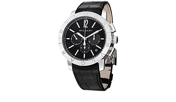 Amazon.com: Bvlgari Mens Bulgari 41mm Black Alligator Leather Band Steel Case Automatic Watch 102043 BB41BSLDCH: Bvlgari: Watches