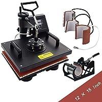 5 in 1 Dual Digital Transfer Sublimation Heat Press Machine 360-degree Rotation Heat Press Machine Hat/Mug/Plate/Cap/T-Shirt Multifunction Black