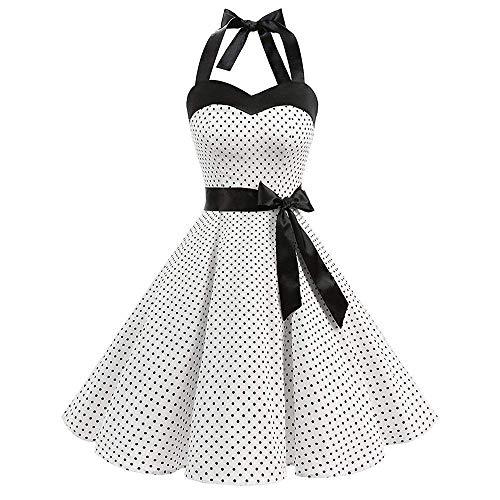 Vestido color Mujer Estampado White4 Hhgold Mangas Lunares Small Con Vestidos De Tamaño White4 Sin Vintage Sexy qpEtwnCft