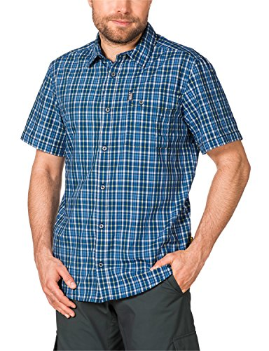 Jack Wolfskin Herren Hemd Crossley Shortsleeve Shirt M, Moroccan Blue Checks, S, 1401891-7269002