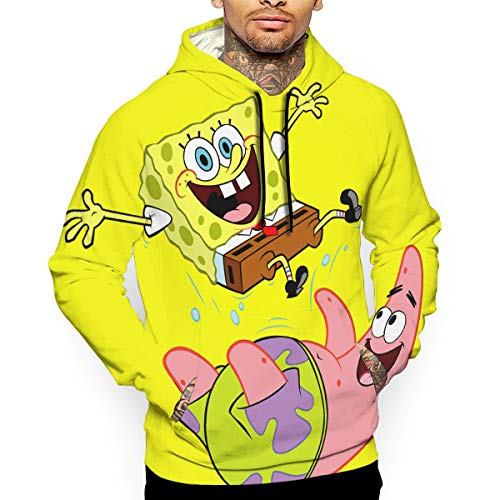 Marcus Roberta Mens Sponge-bob-Patrick-Star 3D Printed Athletic Hooded with A Hat Printed Pullover Big Pockets -