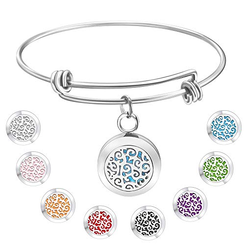 Jack & Rose Essential Oil Diffuser Wire Bangle, Stainless Steel Aromatherapy Locket Bracelet with 8 Washable Color Pads,Girls Women Jewelry Gift