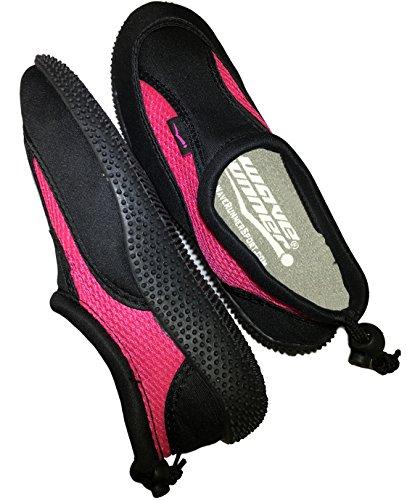 Wave Runner Quick Dry Wasserschuhe Aqua Socken Barfuß Slip-On mit verstellbaren Rückengurt für Männer Frauen Rosa und Schwarz