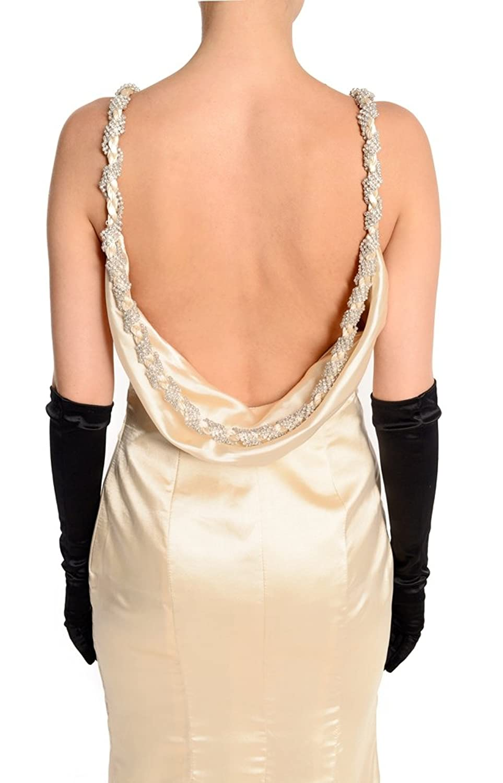 Amadeo Elegant Straps Satin gold Evening Dresses LF055