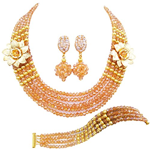 laanc 5 Rows Multicolors African Beads Jewelry Set,nigerian Wedding Beads Jewellery Sets A-022A (Champagne Gold ()
