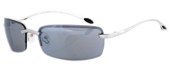 Rahmenlose Metall Sonnenbrille mit spiegelnden Gläsern smoke blau GWDjUEckLj